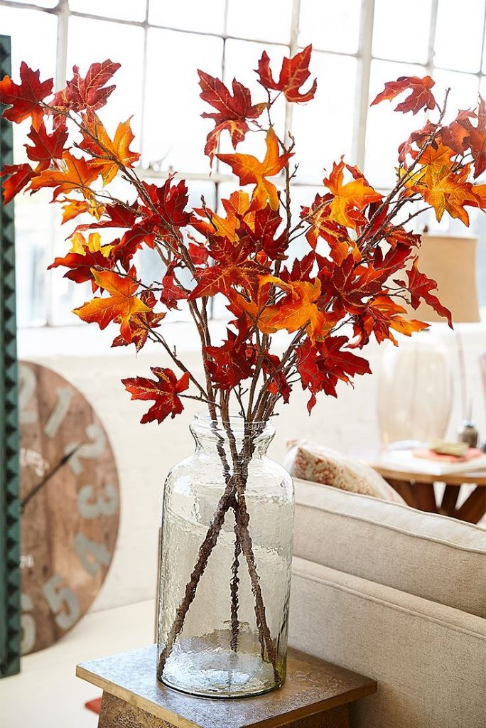 Seasonal decorating floral leaf arrangement