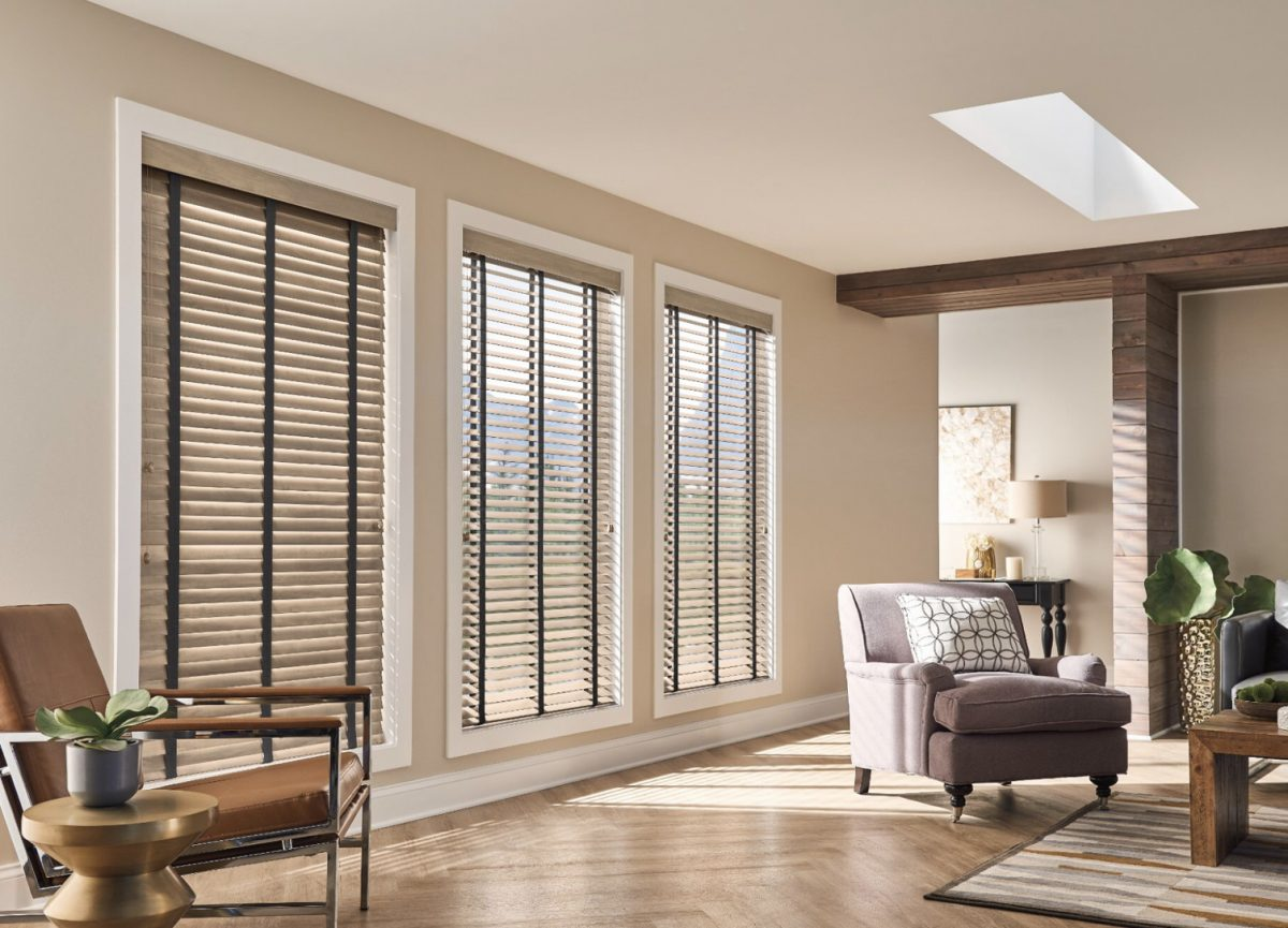 Wood Venetian blinds living room