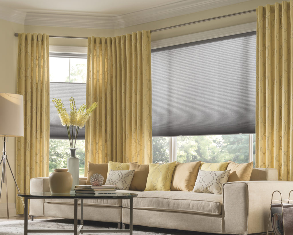 Cellular shades with decorative panels in living room