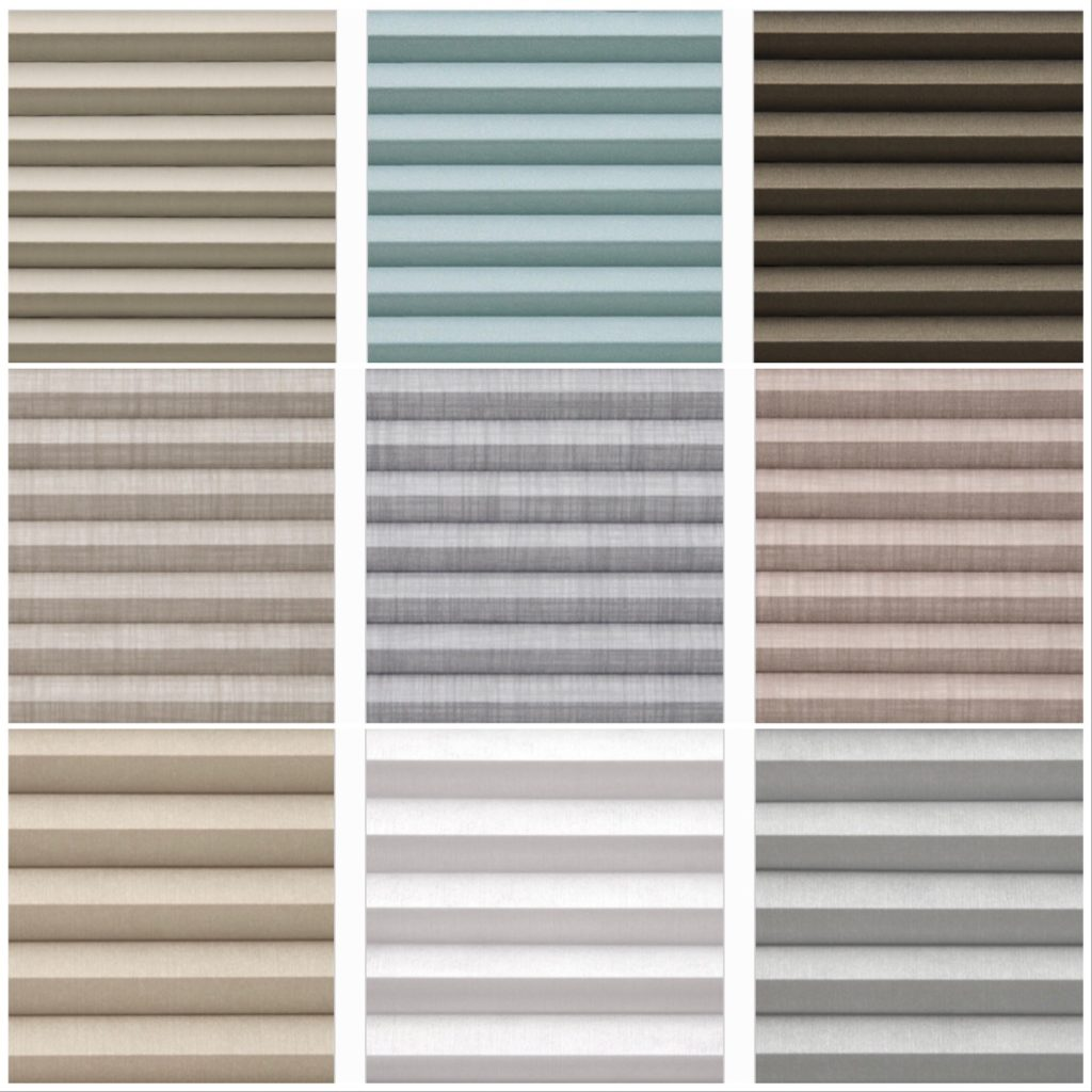 crystal pleat shades color options