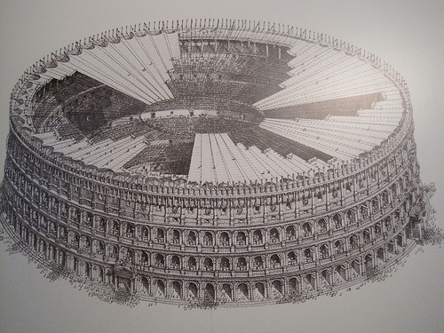 Drawing of the colosseum under construction for horizontal roman shades.