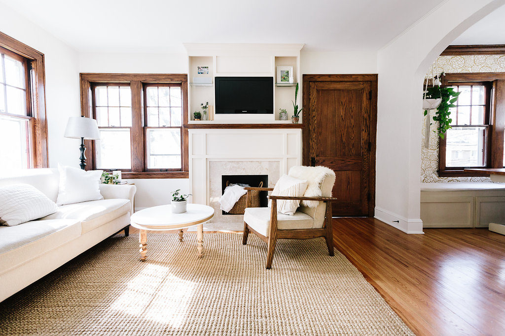 White Living Room with Dark Trim