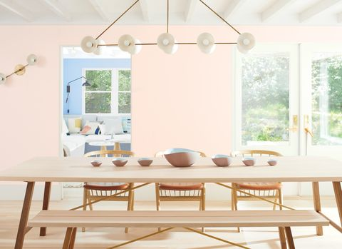 Benjamin moore First Light 2102-70 on walls in Danish style dining room