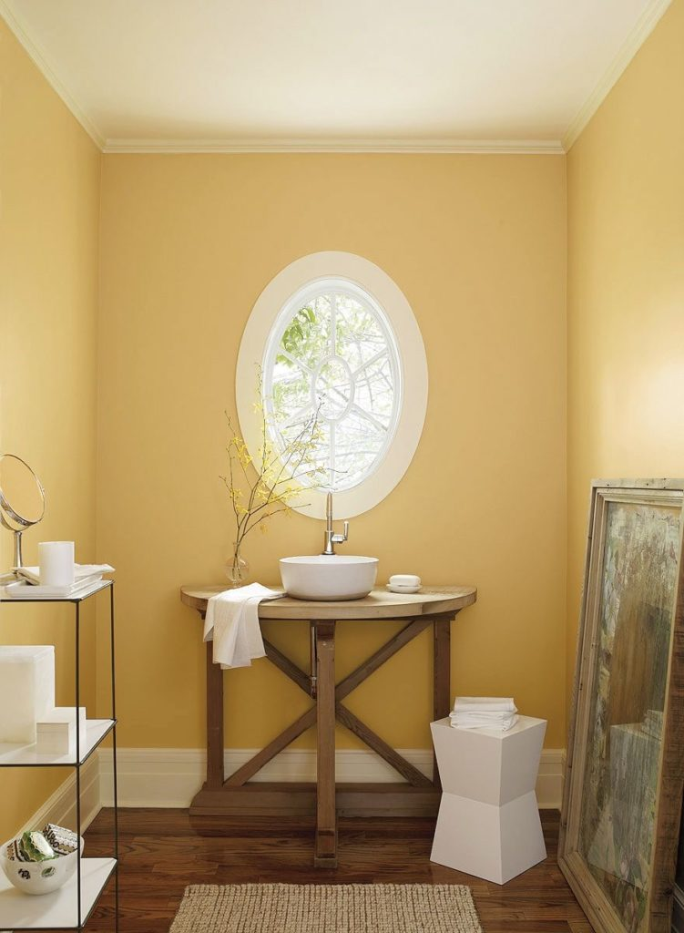 Golden Straw on walls in small powder room
