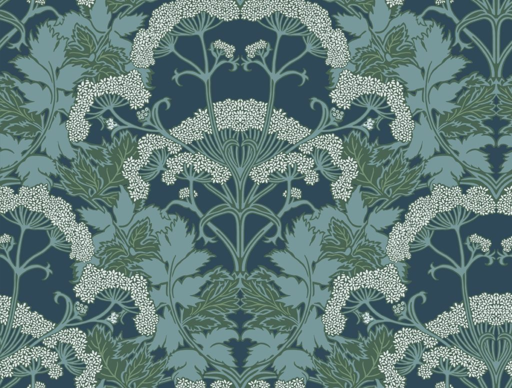 Yarrow Nouveau blue Wallpaper