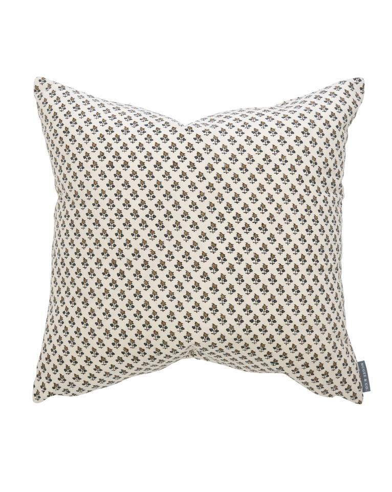 Small print neutral floral pillow McGee and Co Studio McGee