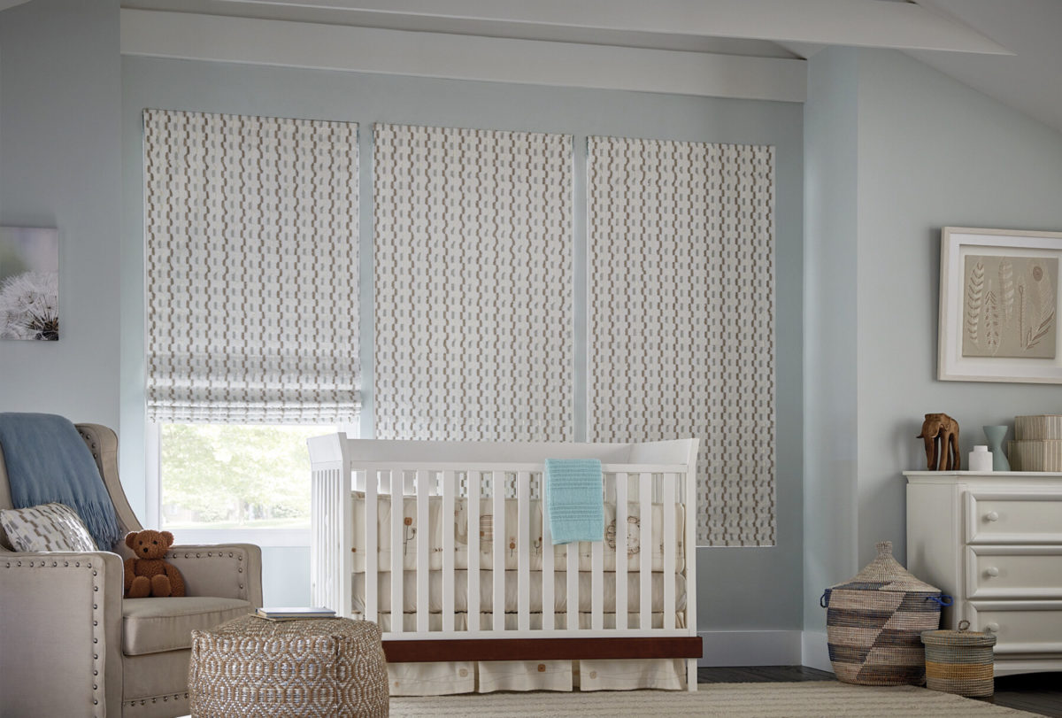 Small print Graber roman shades in nursery