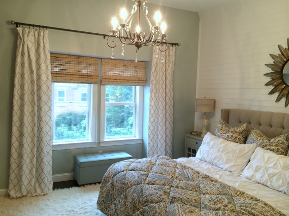 Curtain rods, transitional farmhouse, draperies hung properly