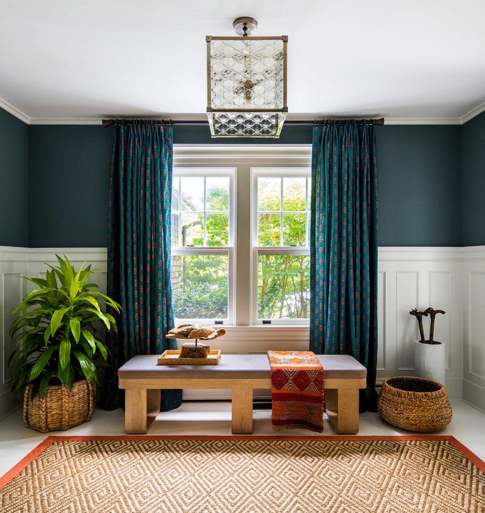 Moody maximalist home, dark jewel tone draperies, custom window treatments